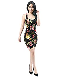 Women Fashion Lightweight Stretchy Bodycon Floral Design Dress