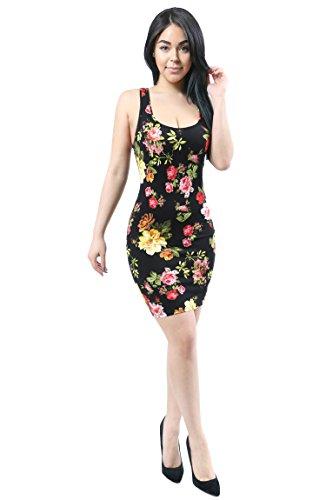 View All Dresses Designer (Fandsway Women Fashion Lightweight Stretchy Bodycon Floral Design Dress Large BLACK-675732)