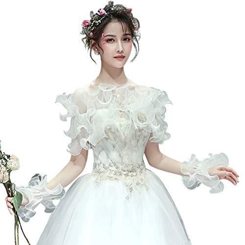 (Cher9 Bridal Off Shoulder Tiered Shawl Shrug Agaric Ruffled Mesh Lace Up Handmade Beading Wedding Bolero)