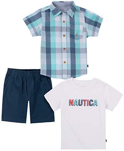 Nautica baby-boys 3 Pieces Shirt Shorts Set
