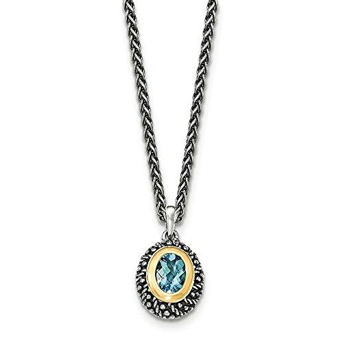 Sterling Silver avec 14 carats avec rangée de topazes bleues suisses-Lt-JewelryWeb