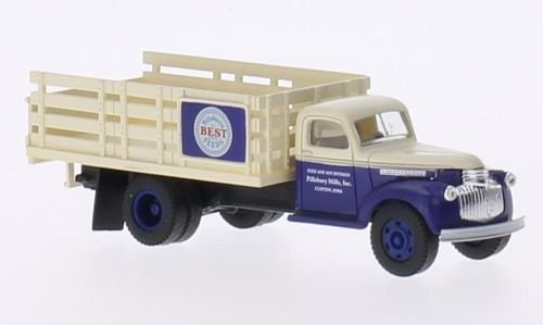 (Chevrolet 41/46 Stake Bed Truck, Pillsbury Feeds, Model Car, Ready-made, Classic Metal Works 1:87)