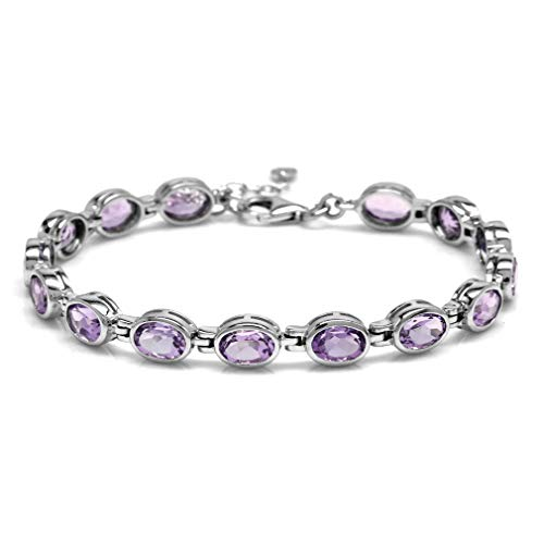 (11.1ct. Natural Amethyst White Gold Plated 925 Sterling Silver Bezel Set 7-8.5