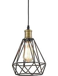 Yobo Lighting Vintage Oil Rubbed Bronze Polygon Wire Pendant Light Art Deco