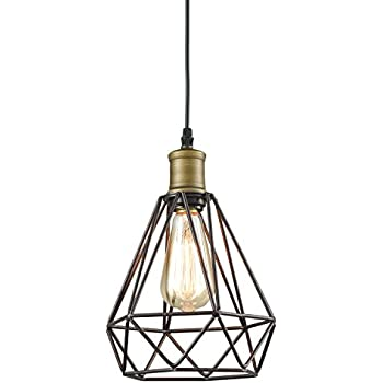 YOBO Lighting Vintage Oil Rubbed Bronze Polygon Wire Pendant Light Art Deco  sc 1 st  Amazon.com & YOBO Lighting Vintage Oil Rubbed Bronze Polygon Wire Pendant Light ...