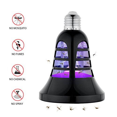 Bogao Bug Zapper Light Bulb 2 in 1 Electronic Insect Killer, Mosquito Killer, Fly Killer UV Lamp, 110V E26 Light Bulb Socket Base for indoor and outdoorblack