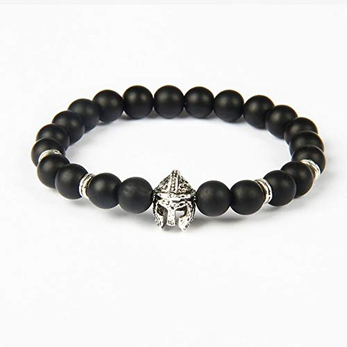 Helm Gladiator (Gabcus Brand Jewelry Men's Idol Black Round Stone Hero Helm Bracelet, Roman Helmet Jewelry - (Metal Color: Antique Silver Plated, Length: 19cm))