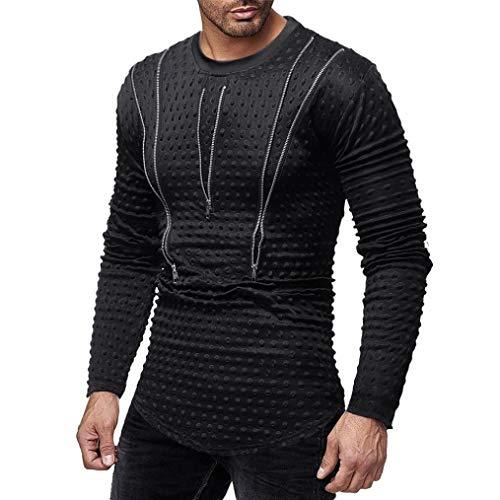 Sunhusing Men's Personality Casual Polka Dot Zip Long Sleeve Pullover Sweatshirt Top Blouse ()
