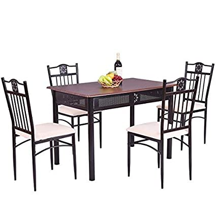 TANGKULA 5 Piece Wood Top Metal Dining Table And Chairs Set Kitchen  Breakfast Furniture