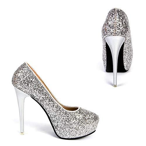 Donna Sposa Bianche Tacco Silver Da Boots A Martin Spillo Alto Scarpe 8pqwx64S