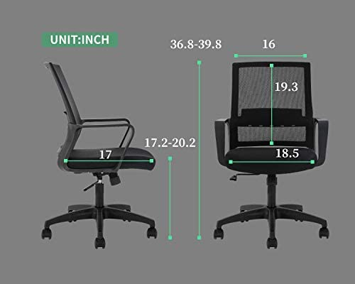 Home Office Chair Ergonomic Desk Chair Swivel Rolling Computer Chair Executive Lumbar Support Task Mesh Chair Adjustable Stool for Women Men (Black)