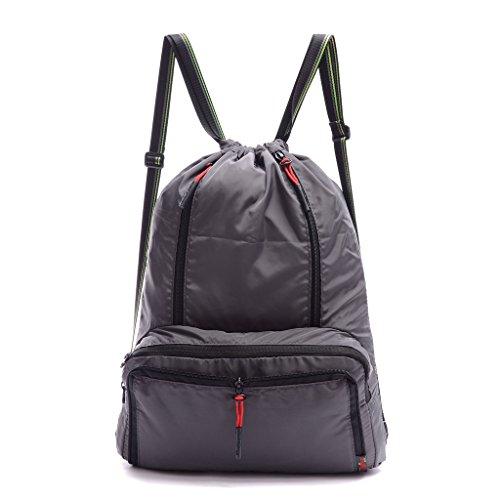 Drawstring Backpack Cinch Sack Foldable Sackpack Lightweight GymSack for Dancing Gym Sports Gray