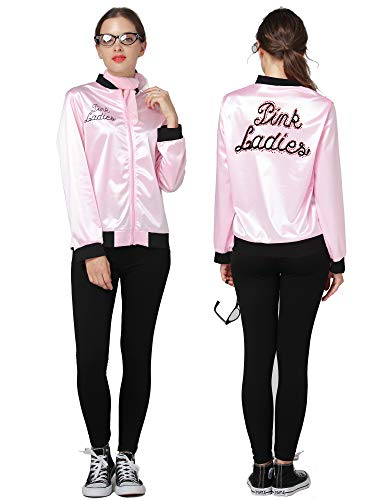 50S Grease T-Bird Danny Rhinestone Pink Ladies Satin Jacket Costume Scarf (Pink, X-Large) ()