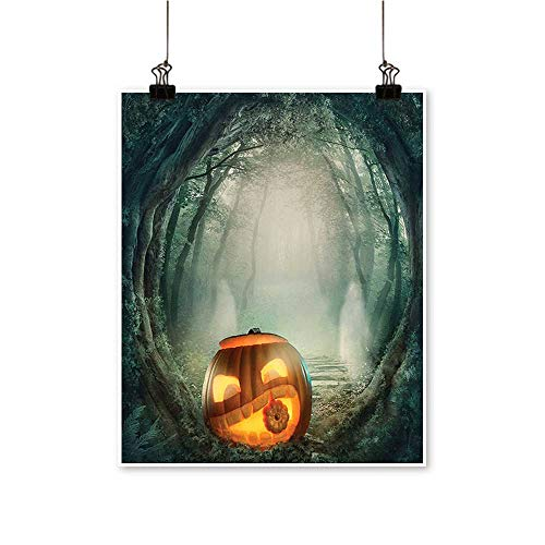 Single Painting Big Scary Halloween Pumpkin in Enchanted Forest Mystic Twilight Party Themed Or Office Decorations,32