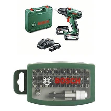 Bosch 060397340P - Taladro atornillador PSR 14,4 LI-2 + Bosch 2607017063 - Set de 32 unidades para atornillar