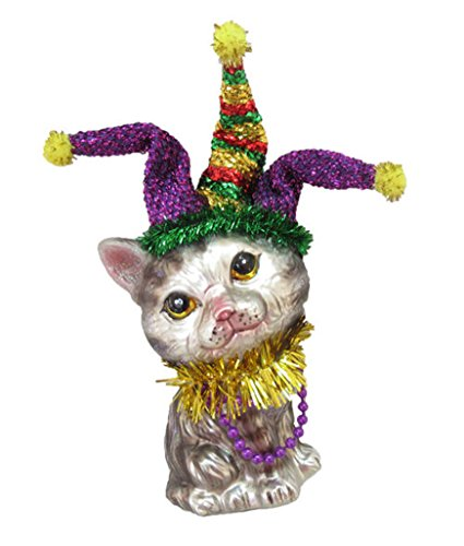 (December Diamonds Glass Ornament - Grey Tabby Cat with Jester Hat, Marti Gras)