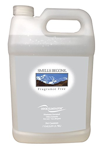 Smells Begone Air Freshener Spray - Odor Eliminator - Eliminates Odors from Trash Cans, Smoke, Cars, Pets and Boats - Non-Toxic and Non-Staining- Fragrance Free (1 Gallon)