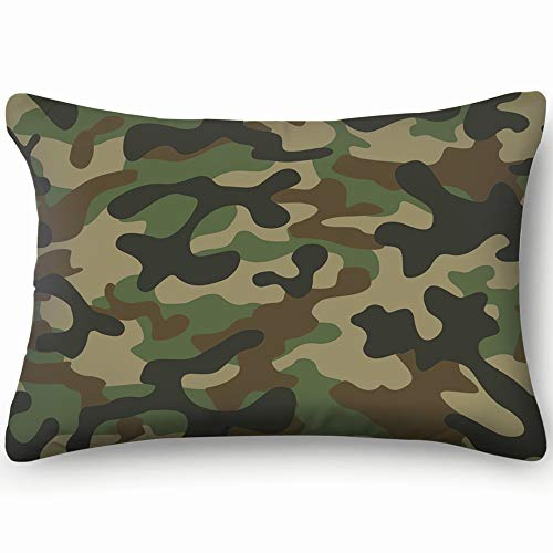 Texture Military Camouflage Repeats Army Abstract Cotton Linen Blend Decorative Throw Pillow Cover Cushion Covers Pillowcase Pillow Shams, Home Decor Decorations for Sofa Couch Bed Chair 20X36 - Camo Wallpaper Army