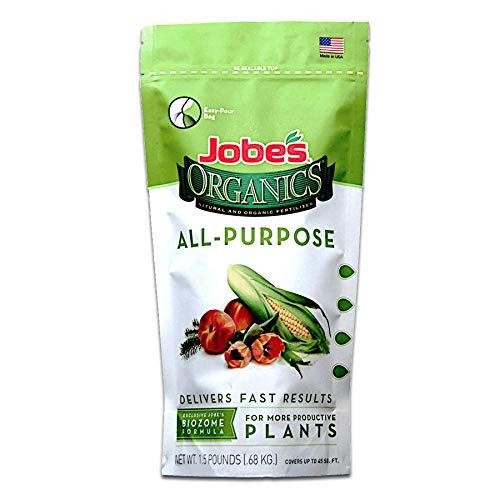 Jobe's Organics All Purpose Fertilizer with Biozome, 4-4-4 Organic Fast Acting Granular Fertilizer for All Plants, 1.5 Pound Bag