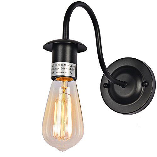 Baiwaiz Simple Wall Light Fixture, 1-Light Metal Industrial Wall Sconce Vintage Gooseneck Wall Lamp Black Finish Edison E26 (Bulb Not Included) BW17008A - Iron Wall Mounted Sconce