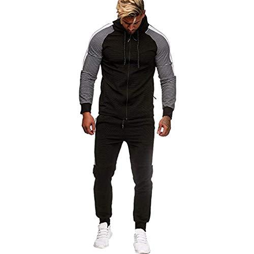 Men's Autumn Winter Pocket Sweatshirt Top Pants Sets Sports Suit Tracksuit Black