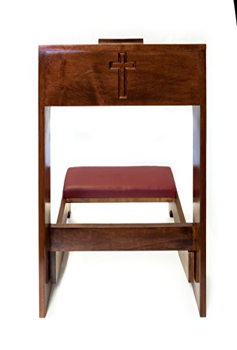 Padded Prayer Church Kneeler with Shelf and Carved Cross on Front Panel, 32 Inch (Walnut Finish)
