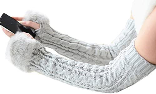 Ladies Christmas Gifts.All Match Knit Women Gloves Stretchy Half Finger Arm Warmer Gloves For Girls Ladies Christmas Gifts Etc Light Grey Long