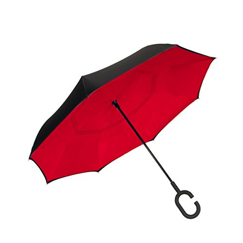 ShedRain UnbelievaBrella Reverse Umbrella: Black and Red