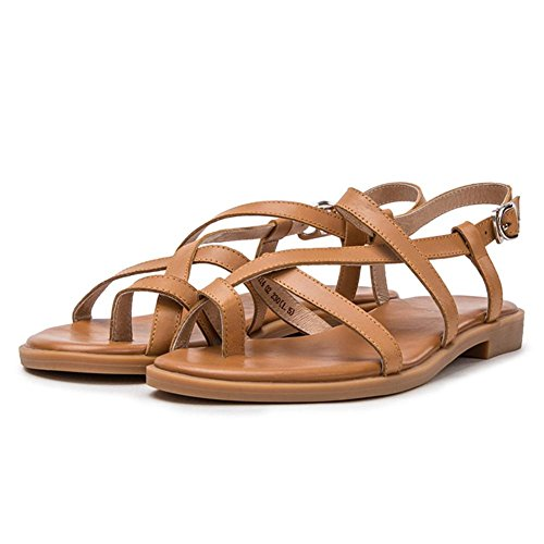 Casual shoes Summer buckle ladies sandals fashion simple flat bottom shoe round head toe shoes 02 brown w7vKZ