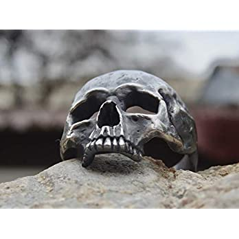 Handgemachter Herren Totenkopf Ring aus Sterling Silber 925
