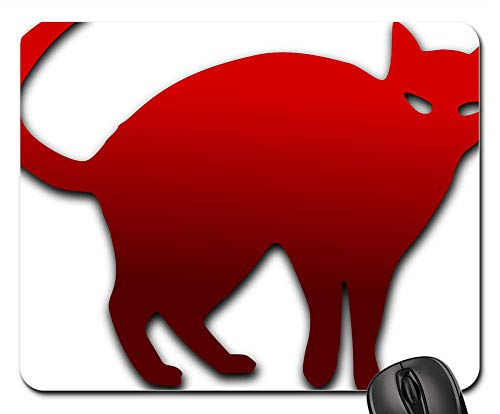 Mouse Pads - Halloween Cat Red Spooky Angry Tail Pet Animal