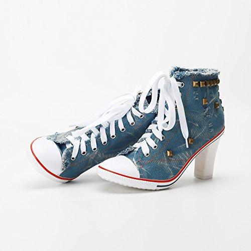OCHENTA Femme Bottine Basket Talon Bloc Hauteur 8cm Lacets En Toile Sneakers Cheville Bleu
