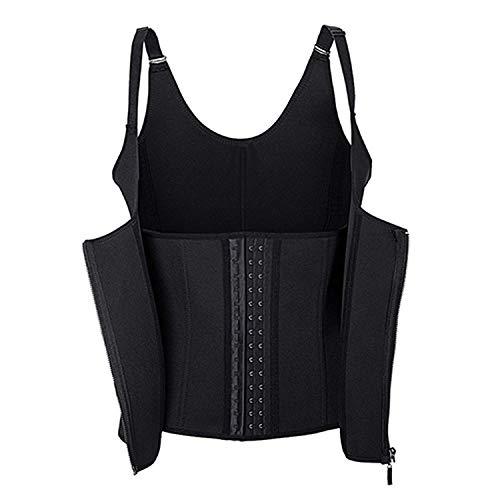 Women Corset Waist Trainer Slimming Black Adjustable Shoulder,Black,XXL