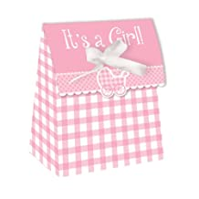 Creative Converting Baby Shower Girl Gingham 12 Count Die Cut Favor Bags