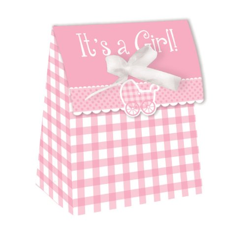Creative Converting Baby Shower Girl Gingham 12 Count Die Cut Favor Bags - 081332