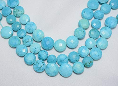 KALISA GEMS Beads Gemstone 11mm - 14mm Bead, Turquoise Faceted Briolettes, Howlite Coin Beads, Chinese Turquoise, Coin Shape, 10 Inch Strand ()