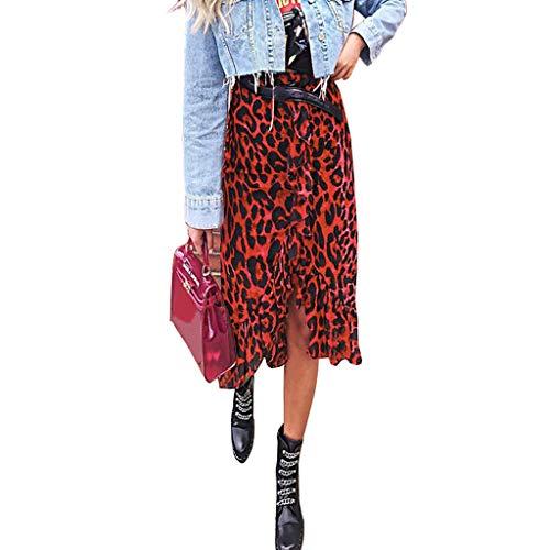 Leopard Print Ruffle Trim - Skirts for Women Casual Flowy Leopard Print Ruffle Trim Asymmetric Hem Pleated Midi Skirt (L, Red)