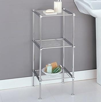 Chrome Storage 3 Tier Tower Bathroom Storage Shelves, Interior ...