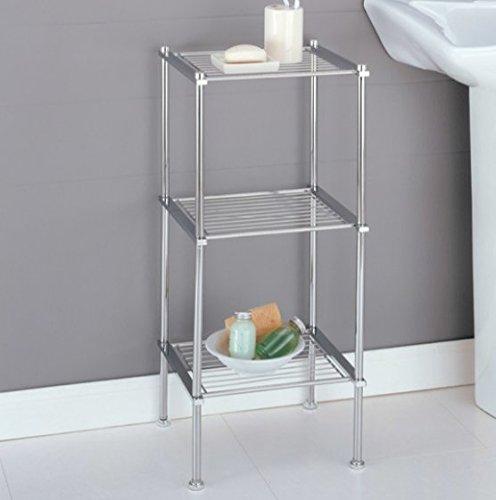 Clock Etagere - Chrome Storage 3 Tier Tower Bathroom Storage Shelves, Interior Decorating