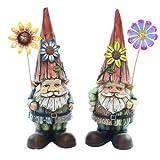 Alpine WQA373ABB Gnomes Holding Flower Garden Statue - Assorted Tray