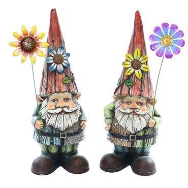 Alpine WQA373ABB Gnomes Holding Flower Garden Statue - Assorted Tray by Alpine