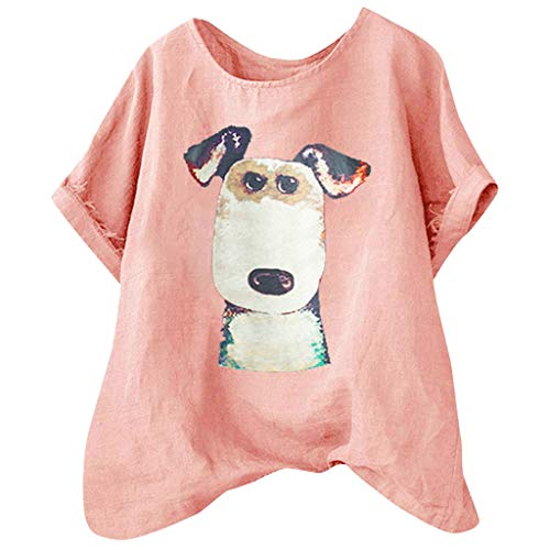 Women's Short Sleeve O-Veck Contrast Cartoon Dog Print Tee Ringer T-Shirt ♚HebeTop♚ Pink