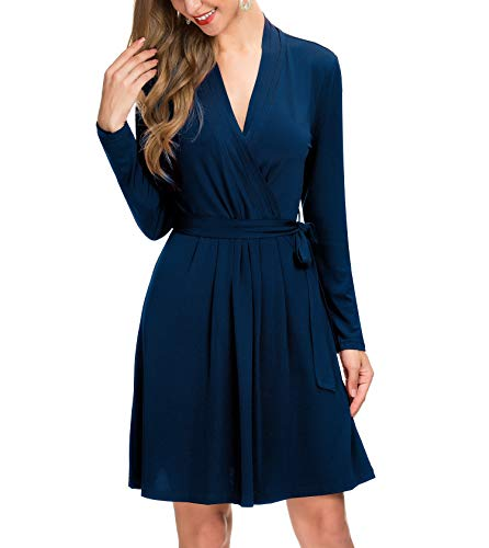 Le Vonfort Women's Long Sleeve Crossover V Neck Casual Swing A Line Wrap Dress with Belt Sapphire Large