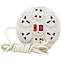 Maizic Extension Board Round 6 Amp 8 Plug Point with Master Switch, LED Indicator, Extension Cord (2.7 Meter) - White