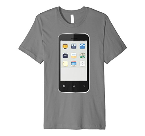 Mens Cell Phone T-shirt Easy Group Halloween Costume Idea Large Slate -