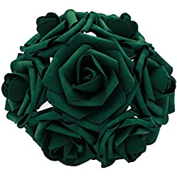 50 pcs Artificial Flowers Foam Roses for Bridal Bouquets Wedding Centerpieces Kissing Balls (Emerald)