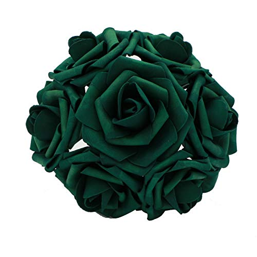 Flower Wedding Centerpiece (50 pcs Artificial Flowers Foam Roses for Bridal Bouquets Wedding Centerpieces Kissing Balls (Emerald))