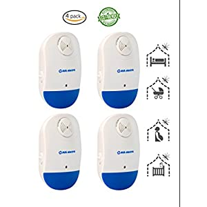 [CLASSIC DESIGN] Ultrasonic Pest Control Repeller (Pack of 4) by AVA Electric [NEW TECHNOLOGY] Plug-in and Night Light for Indoor - Indoor Pest Control Device Cockroaches, Roaches, Mice