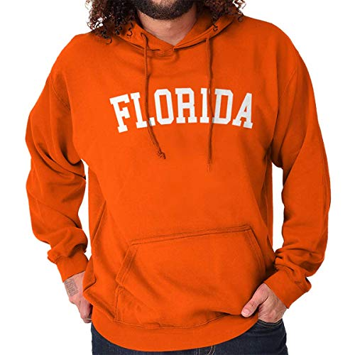 Florida State Shirt Athletic Wear USA T Novelty Gift Ideas Fleece Hoodie Orange ()