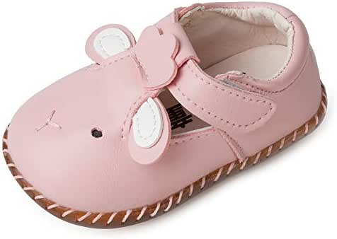 SOFMUO Baby Mary Jane Moccasins - PU Leather Soft Non-Slip Rubber Sole Infant Girl Boy Flats Newborn Crib Shoes Toddler First Walking Shoes 0-2 Years Old